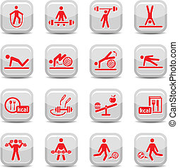 fitness, sportende, iconen