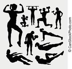 fitness, sportende, man en vrouw, silho