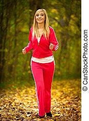 fitness, sportende, meisje, rennende , jogging