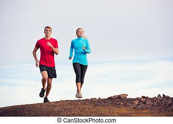 fitness, sportende, paar, rennende , jogging, buiten, op, spoor