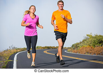 fitness, sportende, paar, rennende , jogging, buiten