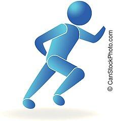 fitness, sportende, pictogram, logo