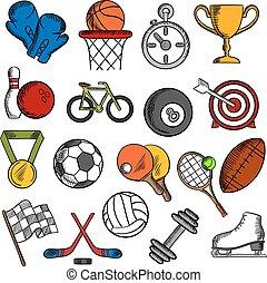 fitness, sportende, set, iconen