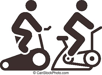 indoor cycling icons - Fitness sports icons set - indoor ...