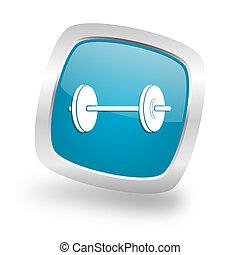 fitness square blue glossy chrome silver metallic web icon