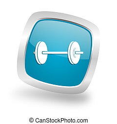 fitness square blue glossy chrome silver metallic web icon