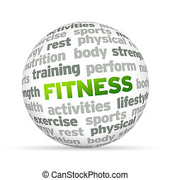Fitness - 3d Fitness Word Sphere on white background.