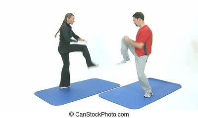 Fitness - Male and female are air boxing for fitness