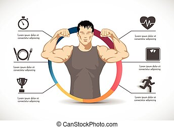 Fitness - strong man - gym concept - healthy diet