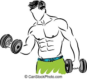fitness strong man illustration