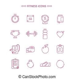 fitness, style, ensemble, contour, icônes