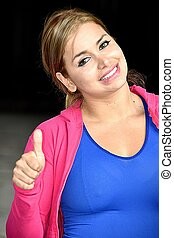 Fitness Teen Girl With Thumbs Up