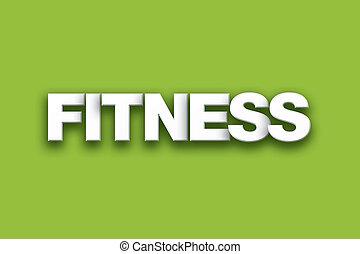 fitness, thema, woord, kunst, op, kleurrijke, achtergrond