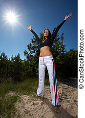 20-25 years old woman during fitness, outdoor