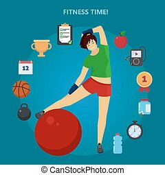 Fitness Time. Girl with set of Fitness Icons
