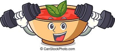 Fitness tomato soup character cartoon