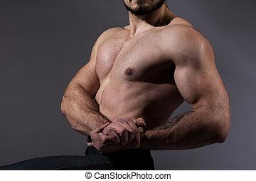 fitness, torso, gespierd, man