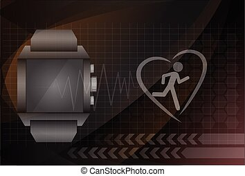 Fitness tracker application for smart watch concept with heart monitor and silhouette of running or jogging person. Eps10 vector illustration.