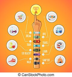 Fitness tracking vector infographics in flat style