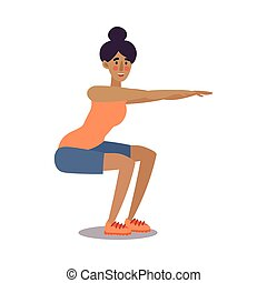 Fitness trainer girl doing squatting exercise in a gym. Vector illustration in flat cartoon style