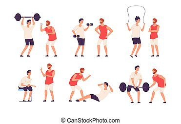 Fitness trainer. Male personal coach helps bodybuilder guy training exercising gym isolated vector set