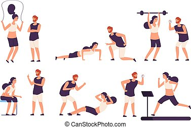 Fitness trainer. Male personal coach helps woman training, fit girl exercising with gym instructor isolated vector set