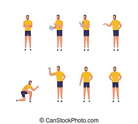 Fitness trainer or coach man character set, flat vector illustration isolated.
