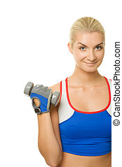 Fitness trainer with a dumbbell