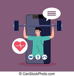 fitness, training and workout app, man practicing sport in ...