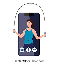 fitness, training and workout app, woman practicing sport in...
