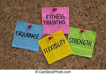 fitness training goals or elements - endurance, flexibility...