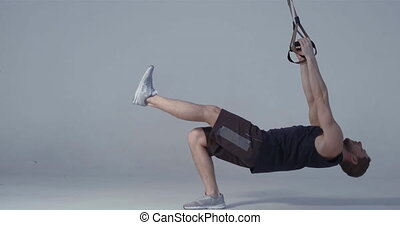 Fitness training TRX exercises and leave after done. Video ...