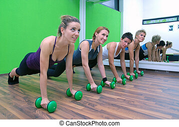 fitness training with dumbbell