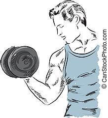 fitness, uit, het uitoefenen, werkende , man