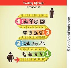 fitness, und, diät, infographic, mit, messen, band