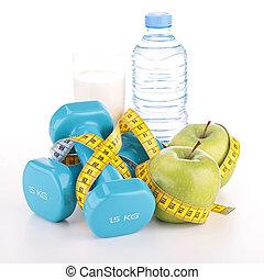 fitness, und, diät- nahrung