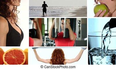 fitness, und, gesundes essen