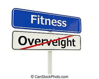 fitness, vägmärke, isolerat, vita, bakgrund