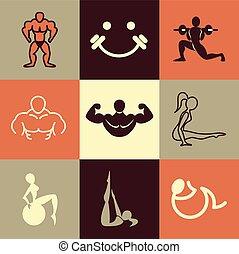 fitness, vecteur, ensemble, icônes