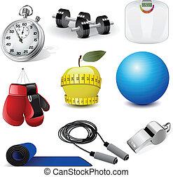 fitness, vecteur, icônes