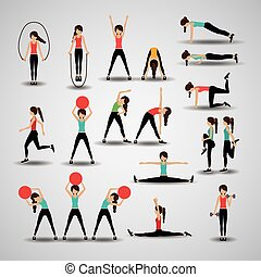 fitness, vecteur, illustration., conception