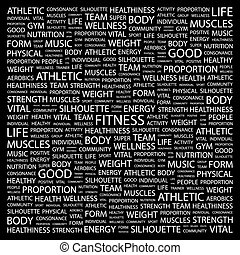 FITNESS. Concept illustration. Graphic tag collection....
