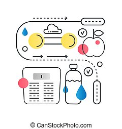 Fitness vector concept in trendy line with gradient flat color.