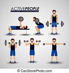 fitness, vector, illustration., ontwerp