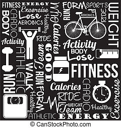 fitness vector - fitness words over black background. vector...