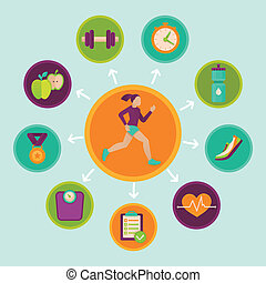 fitness, vector, ontwerp onderdelen, infographics