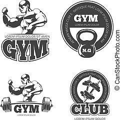 Fitness vector set of emblems, labels, badges, logos