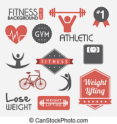 fitness vector - fitness labels over gray background. vector...
