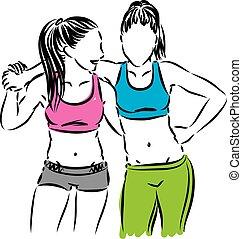fitness, vector, vrienden, illustratie, vrouwen
