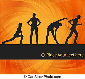 fitness, vektor, hintergrund